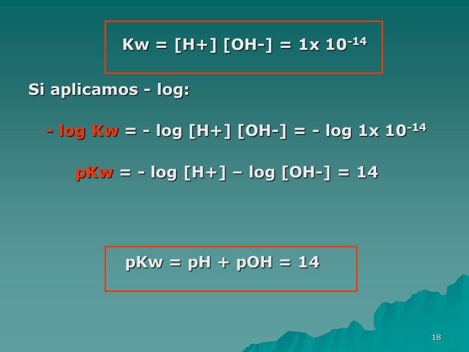 Kw = [H+] [OH-] = 1x 10-14 Si aplicamos - log: - log Kw = - log [H+] [OH-] = - log 1x 10-14. pKw = - log [H+] – log [OH-] = 14.